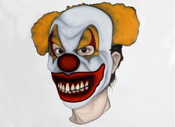 Clown von Marion Auburtin, Marionette (clown maléfique) Öl auf Papier, 31 x 41 cm, 2013