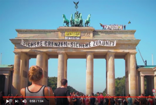 Identitäre Bewegung am Brandenburger Tor, Foto: Screenshot